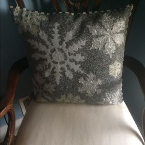 Mackenzie Childs beaded snowflake pillow